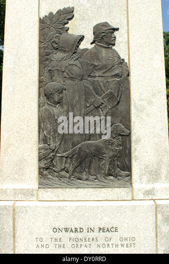 Denkmal für Ohio-Pioniere auf dem Schlachtfeld gefallenen Bauhölzer, Ohio. Stockbild