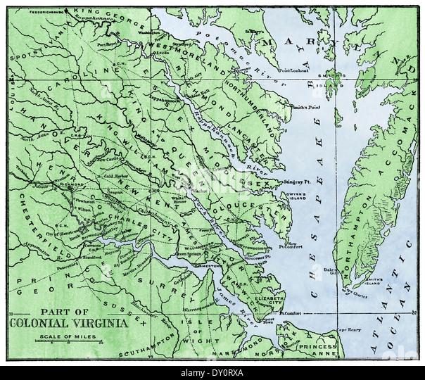 Karte des östlichen Teils des kolonialen Virginia, 1700er Jahren. Stockbild