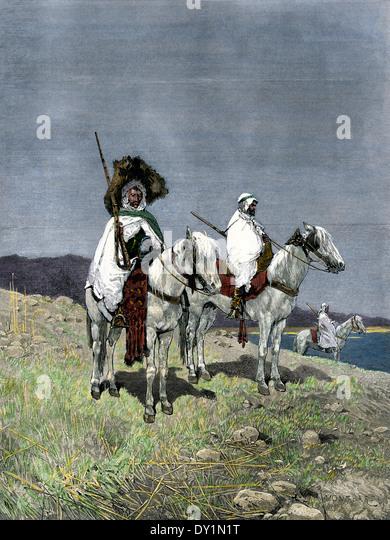 Nativen arabischen Truppen zum Herstellen des französischen Protektorats in Tunesien, 1880er Jahre verwendet. Stockbild