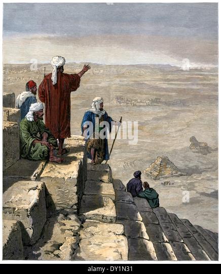 Ägyptische Aussichtspunkte auf die Pyramiden von Gizeh, 1880 s. Stockbild