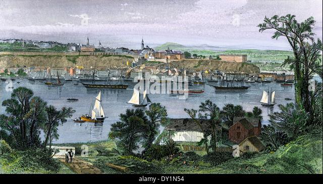 Québec (Stadt) auf der St. Lawrence, Kanada, der 1870er Jahre. Stockbild
