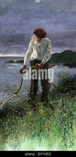 Alter Mann schneiden Heu in einem Feld am Meer, Kap-Breton-Insel, Kanada, 1880 s. Stockbild