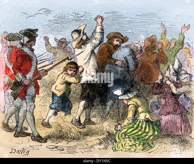 Akadier von den Briten, 1750er-Jahren ins Exil getrieben. Stockbild