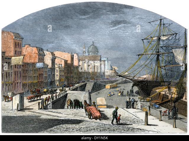 Laden St. Lawrence River Schiffe an der Küste von Montreal, der 1870er Jahre. Stockbild
