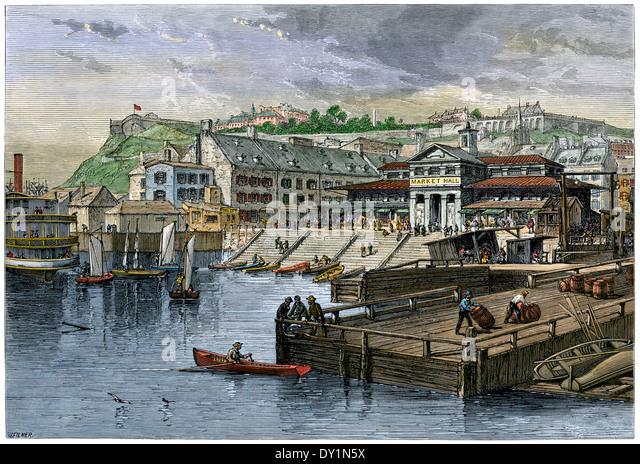 Markthalle und Schiffstation in Quebec City, Kanada, der 1870er Jahre. Stockbild