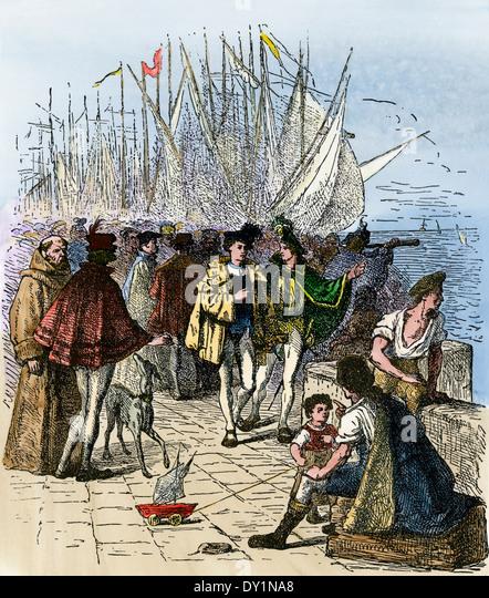 Lissabon am Wasser während dem Zeitalter der Entdeckungen, ca. 1470 beschäftigt. Stockbild