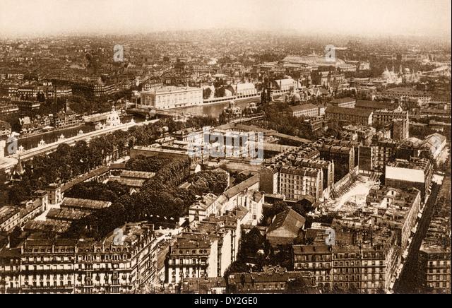 Vogelauge Ansicht von Paris, um 1900. Stockbild