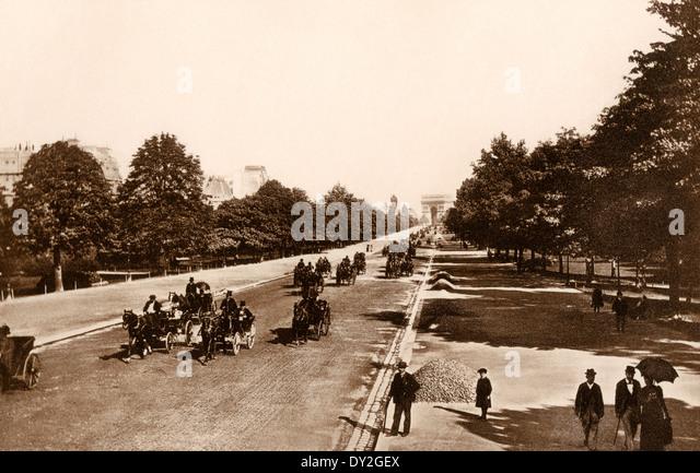 Avenue du Bois De Boulogne, Paris, um 1900. Stockbild