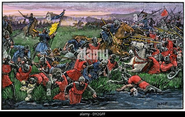 Schotten in die Flucht der englischen Armee in der Schlacht von Bannockburn, 1314. Stockbild