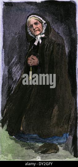 Irin tragen die antiken Kapuzen Umhang des ländlichen Raums, der 1800er. Stockbild