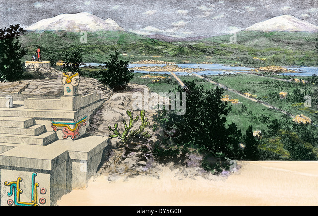 Tenochtitlan, Mexiko, wie es unter den Azteken in Xochimilco See aussah. Stockbild