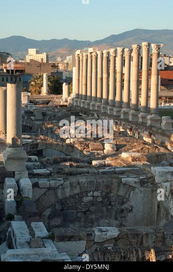 Ausgrabung der Agora der antiken Stadt von Smyma in Izmir, Türkei. Stockbild