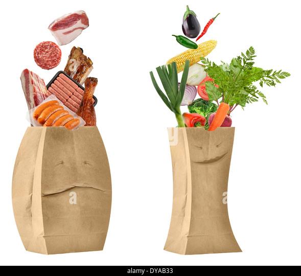 Gesunde und ungesunde Lebensmittel Konzept Stockbild