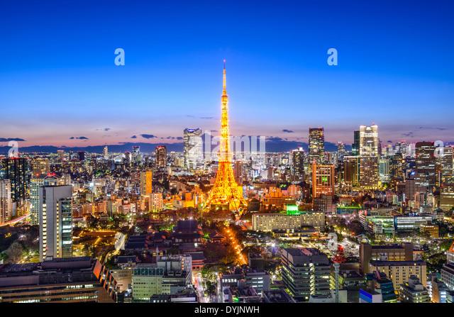Skyline von Tokyo, Japan Stockbild