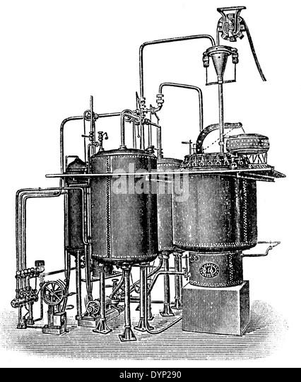 Vintage Textile Herstellung Ausrüstung, Kessel, Illustration aus sowjetischen Enzyklopädie, 1927 Stockbild