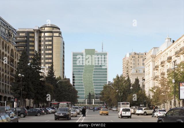 Straßenbild mit der Front des Familienministeriums Gebäudes Stockbild