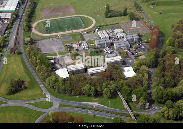 Luftaufnahme des Glenburn Sportschule in Skelmersdale Stockbild