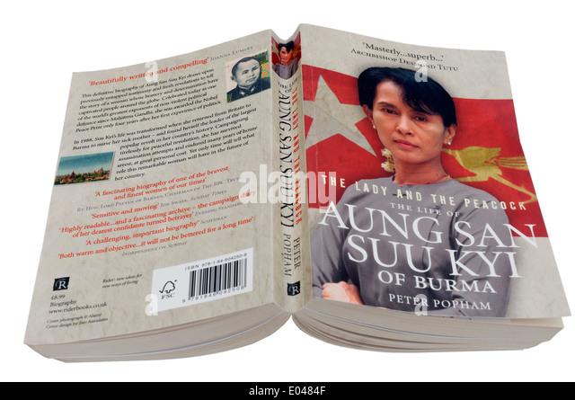 Die Dame und der Pfau, eine Biographie von Aung San Suu Kyi von Myanmar Stockbild
