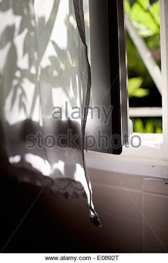 Nahaufnahme eines geöffneten Fensters mit Vorhang Stockbild