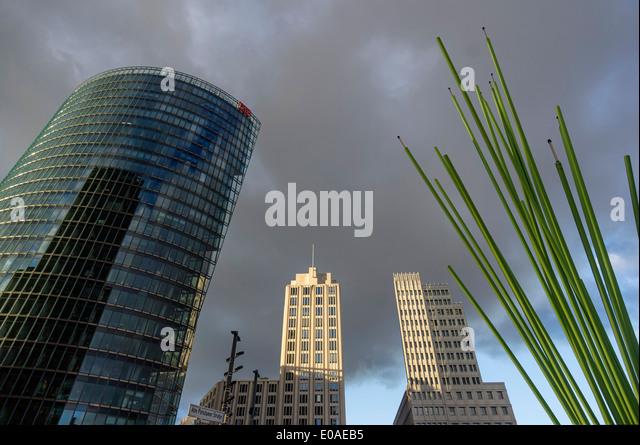 Potsdamer Platz, die Deutsche Bahn Tower, Beisheim Tower, Berlin, Deutschland, Stockbild