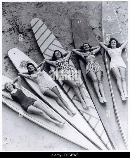 Surfen Sie Sirenen, Manly Beach, New South Wales, 1938-46 Stockbild