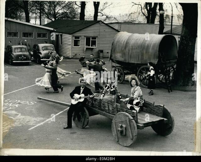 4. April 1953 - Planwagen Party in der Festival-Gärten: '' Tennessee Ernie'' - American die Stockbild