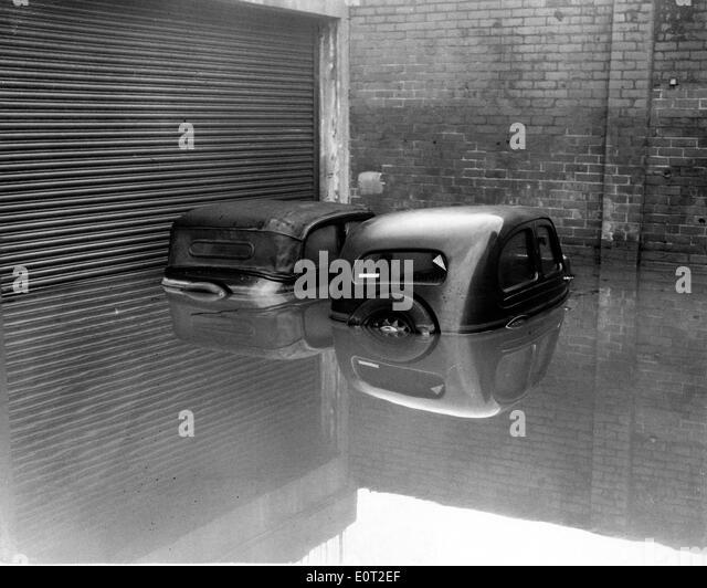 Naturkatastrophe: 1960 Überschwemmungen in England Stockbild