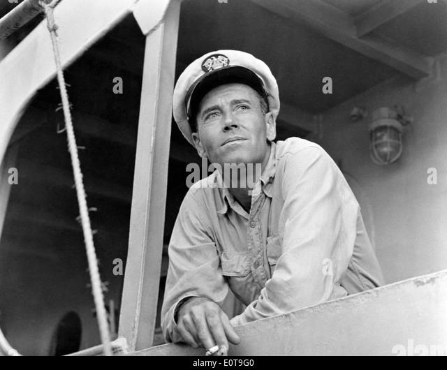 "Henry Fonda, am Set des Films, ""Mister Roberts"", 1955 Stockbild"