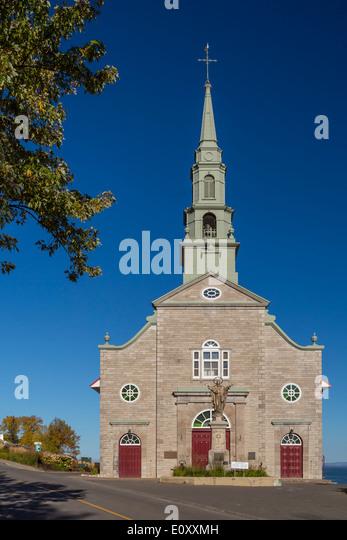 Die katholische Kirche in St. Jean, Ile d' Orleans, Quebec, Kanada. Stockbild