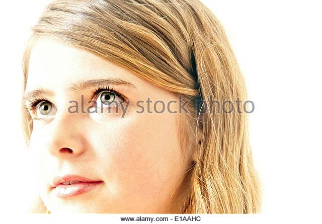 blonde Mädchen Porträt, Ausdruck von Erwartung und Neugier Stockbild