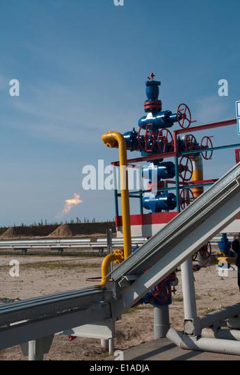 Erdgas-Ausbeutung durch Severneftegazprom in Juschno-Russkoje Gasfördergesellschaften in die russische Tundra Stockbild
