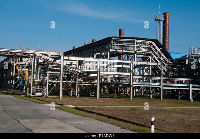 Erdgas-Ausbeutung und Behandlung von Severneftegazprom in Juschno-Russkoje Gasfördergesellschaften in Nordwest Stockbild