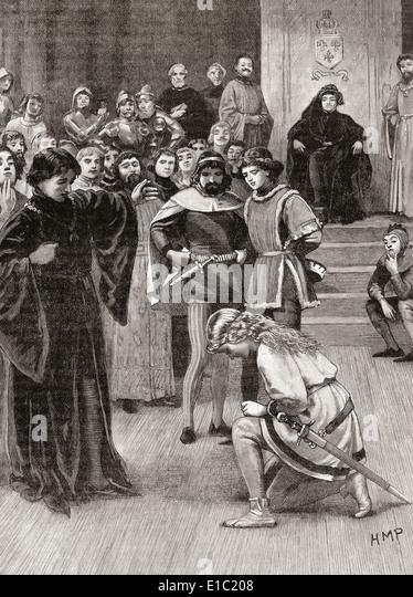Jeanne d ' Arc am Gericht von Charles VII im Jahr 1429. Stockbild