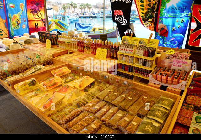 Essen und Trinken ausgeht, Markt, marsaxlokk Marsaxlokk, South Eastern District, Malta xlokk Region, Republik Malta Stockbild
