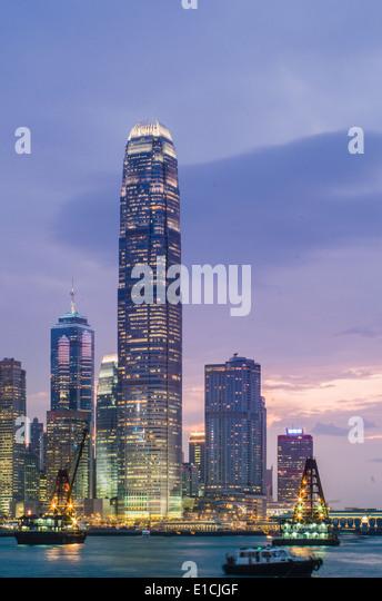 IFC-Türme, eines der höchsten Gebäude in Hongkong. Stockbild