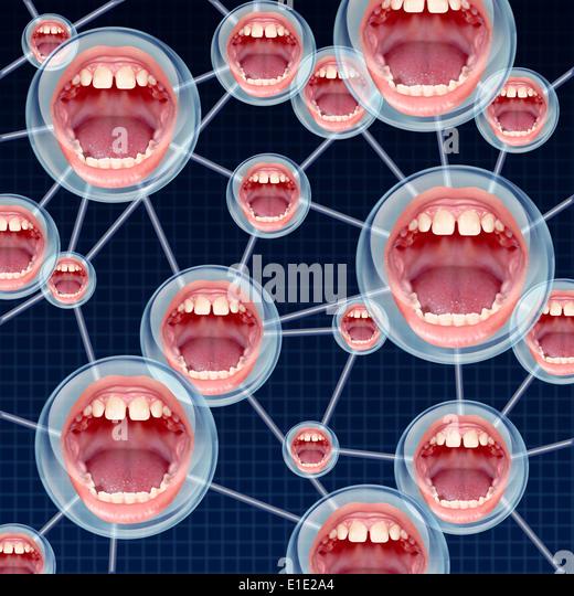 Soziale Verbindungen Kommunikationskonzept als Gruppe Netzwerk über das Internet mit angeschlossenen Bläschen Stockbild