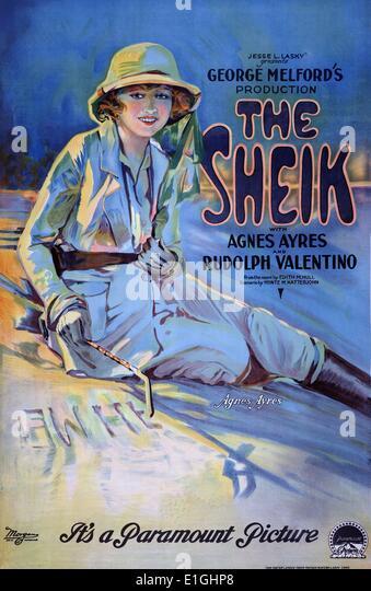 Der Scheich mit Agnes Ayres und Rudolph Valentino, Filmplakat. Stockbild