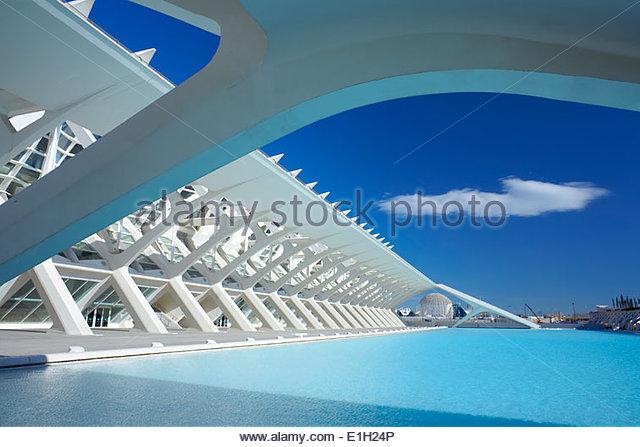 Architektonisches Detail der Stadt der Künste und Wissenschaften, Valencia, Spanien Stockbild