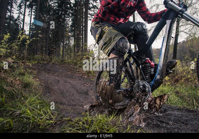 Deutschland, Niedersachsen, Deister, Bike Freeride im Wald Stockbild