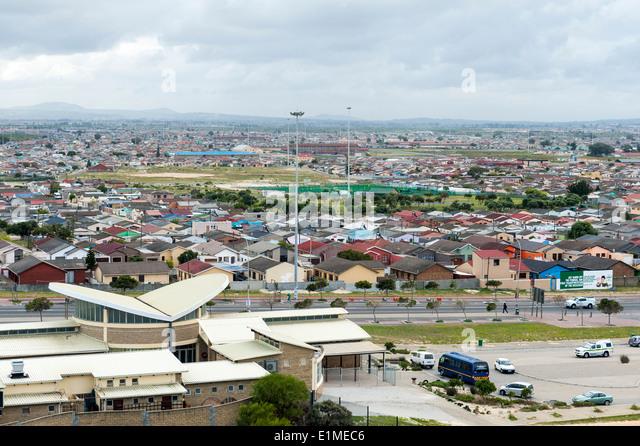 Panoramablick über Khayelitsha Township in Kapstadt, Südafrika Stockbild