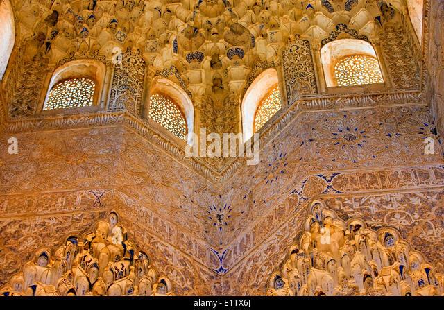 Aufwendigen Schnitzereien auf der Decke Torbogen im Saal der Abencerrajes The Royal House The Alhambra Stadt Provinz Stockbild