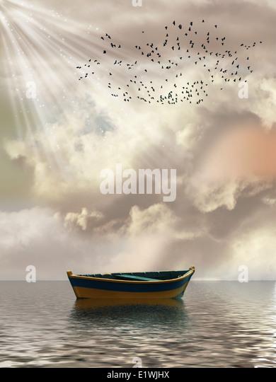 Fantasielandschaft im Meer mit Boot und Vögel Stockbild