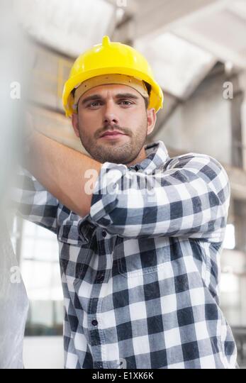 Porträt der Arbeiter in der Industrie arbeiten Stockbild