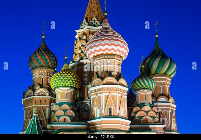 Russland Basilius Kathedrale in Moskau in der Abenddämmerung Stockbild