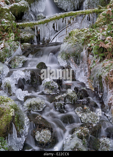 Kleine saisonale Feeder Stream mit Eis. Columbia River Gorge National Scenic Bereich, Oregon Stockbild