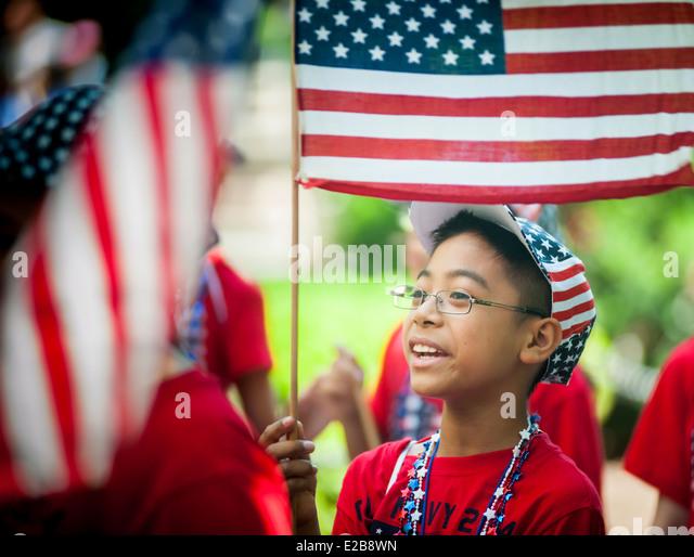 Jährliche Flag Day Parade in New York City Hall Park ab. Stockbild
