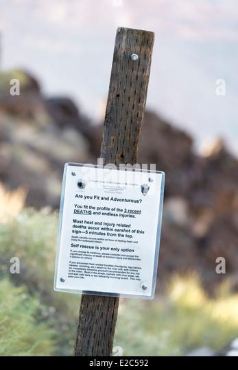 Beachten Sie Warnung Wanderer von Hitze und Verletzungen verursachten Todesfälle auf der Lava Falls Route in Stockbild