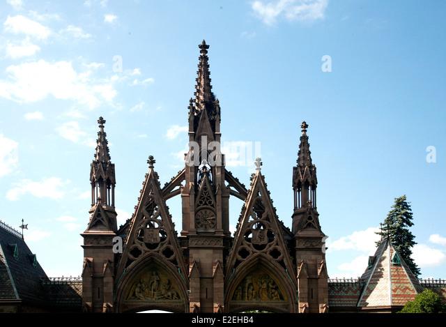Gebäude wie Sie betreten Greenwood Cemetery Brooklyn NY Stockbild