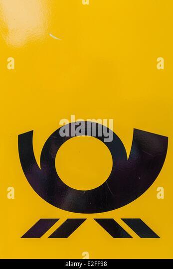 Deutschland, Hamburg, Deutsche Post, Logo Post privatisiert 1995 Stockbild