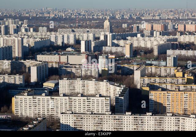 Luftaufnahme des Bezirkes Moskau, Russland Stockbild
